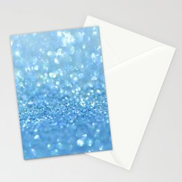Sparkling Baby Sky Blue Glitter Effect Stationery Cards