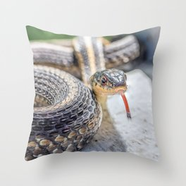 Garter snake with its tongue out Throw Pillow