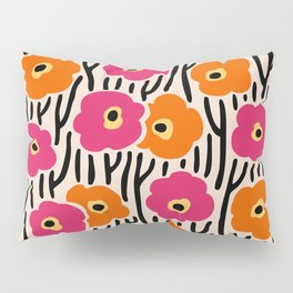 Mid Century Modern Wild Flowers Pattern Pink and Orange Pillow Sham