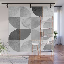 Marble Gray Copper Black and white circles Wall Mural