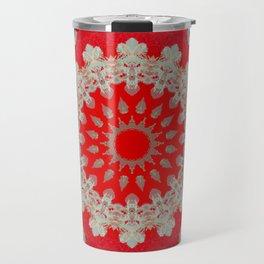 Bright Red Mandala Travel Mug