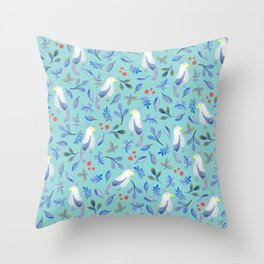 Blue Bird in Watercolour Throw Pillow