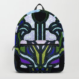 Blue and Green Glowing Art Nouveau Stain Glass Design Backpack