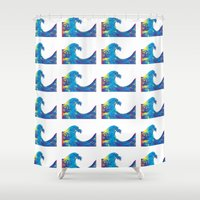 hokusai Shower Curtains featuring Hokusai Rainbow_Bs by FACTORIE