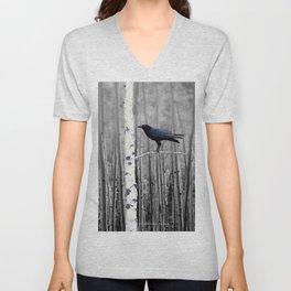 Black Bird Crow Tree Birch Forrest Black White Country Art A135 Unisex V-Neck