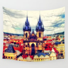 Prague Church Of Our Lady Before Tyn Watercolor Wall Tapestry