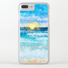 Sunset at a beach landscape Clear iPhone Case