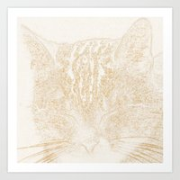 kitten Art Prints featuring kitten by Marina Kuchenbecker