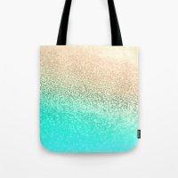 aqua Tote Bags featuring GOLD AQUA by Monika Strigel