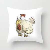 chicken Throw Pillows featuring Chicken by Ky Betts