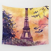 paris Wall Tapestries featuring Paris by Anna Shell