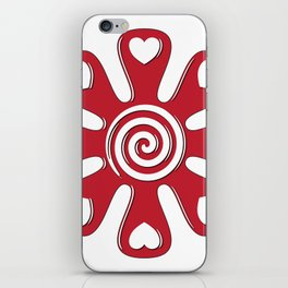 isolated fabric red flower with hearts on leaf  iPhone Skin