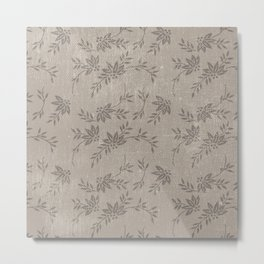 Abstract vintage chic brown cream floral illustration Metal Print