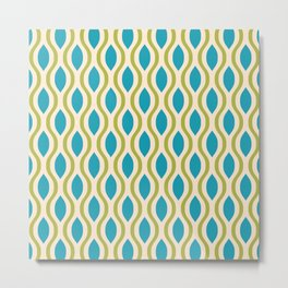 Retro Ogee Pattern 442 Blue Beige and Olive Metal Print