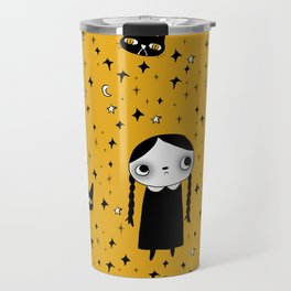 goth girl with her cat Travel Mug