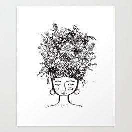 flowered frida Art Print