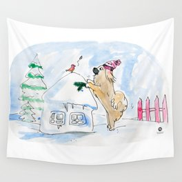 Winter Wonderland Tibbie in a Knitted Hat Enjoying the Snowy Day Wall Tapestry