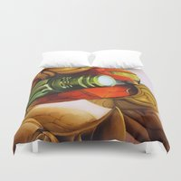 metroid Duvet Covers featuring Metroid by JeyJey Artworks