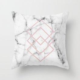 Real White Marble Blush Pink Minimal Geometric Squares Throw Pillow