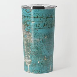 Rustic Wood with Bright Turquoise Paint Weathered Aged to perfection Travel Mug