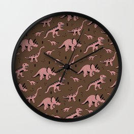 Cool girls dino love ceatures dinosaurs illustration pattern Wall Clock