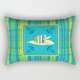 Nautical Beach Sand Pail Little Boy Plaid  Rectangular Pillow