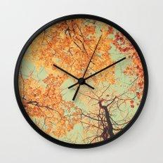 Autumn Inkblot - Yellow Wall Clock