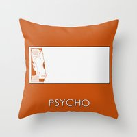 psycho Throw Pillows featuring Psycho by MacGuffin Designs