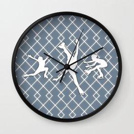 Slate Gray Girls Figure Skating Wall Clock