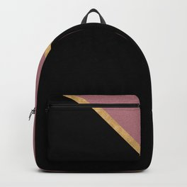 Trendy Glitter Rose Gold and Black Triangle Design Backpack