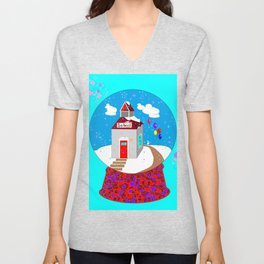 A Winter Wonderland Snow Globe School House Unisex V-Neck