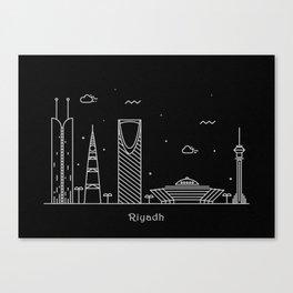 Riyadh Minimal Nightscape / Skyline Drawing Canvas Print