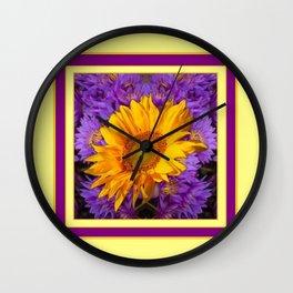 KANSAS SUNFLOWER PURPLE DECO GRAPHIC Wall Clock