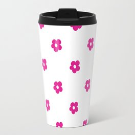 Hot Pink Ditsy Dot Flower Pattern Travel Mug