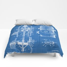 Fire Fighter Patent - Fire Hydrant Art - Blueprint Comforters