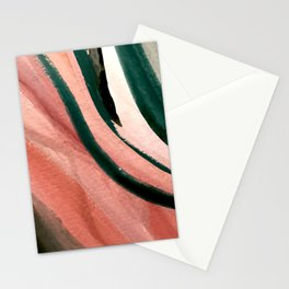 Spring in the City - a pretty mimimal watercolor abstract piece in pinks and greens Stationery Cards