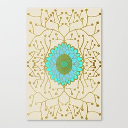 Turquoise and Gold Sunflower Canvas Print