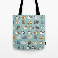 cats Tote Bags featuring Cats! by DoggieDrawings