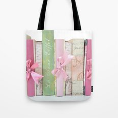Shabby Chic Cottage Pink Aqua Books Collection  Tote Bag