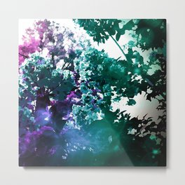 Watercolor Floral Trees Teal Purple Pink Metal Print