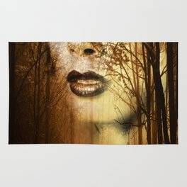 Double exposure portrait of attractive lady combined with photograph of tree. Autumn Fa Rug