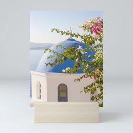 Flowers in Santorini Island, Greece Mini Art Print