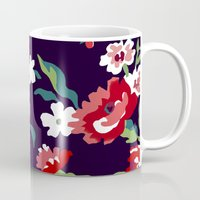 vampire weekend Mugs featuring VAMPIRE WEEKEND FLORAL VECTOR by Danielle Ebro