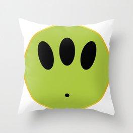 Alien Smile Face Button Isolated Throw Pillow