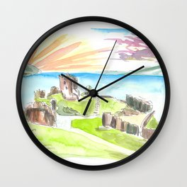 Urquhart Castle with View Over Loch Ness Wall Clock