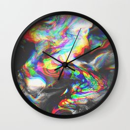 707   abstract paint pattern texture concept color colorful glitch psychedelic marble wavy distort l Wall Clock