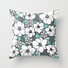 Midnight Magnolias Throw Pillow