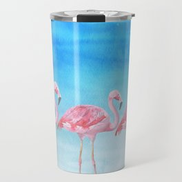 Flamingo Bird Summer Lagune - Watercolor Illustration Travel Mug