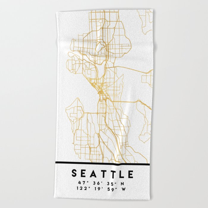 Seattle Washington City Street Map Art Beach Towel By Deificusart