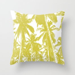 Palm Trees Design in Gold and White Throw Pillow